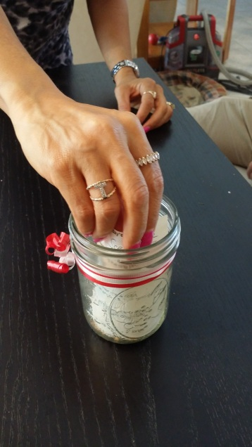 Place instructions in jar.