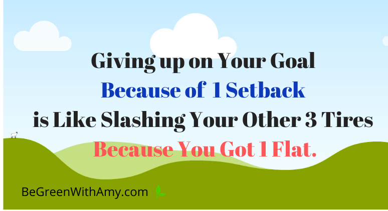 Giving up on Your Goal Because of 1 Setback is Like Slashing Your Other 3 Tires Because You Got 1 Flat. (1)